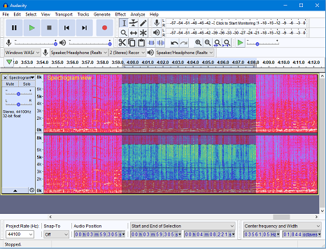 Audacity 2.2.0 in Spectrogram view Windows 10