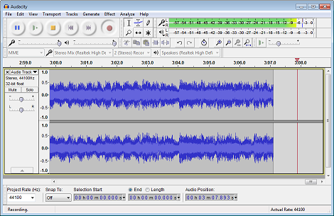 Recording with Audacity on Windows 7