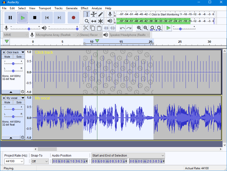 16012548fc8 Audacity 2.2.0 running on Windows 10