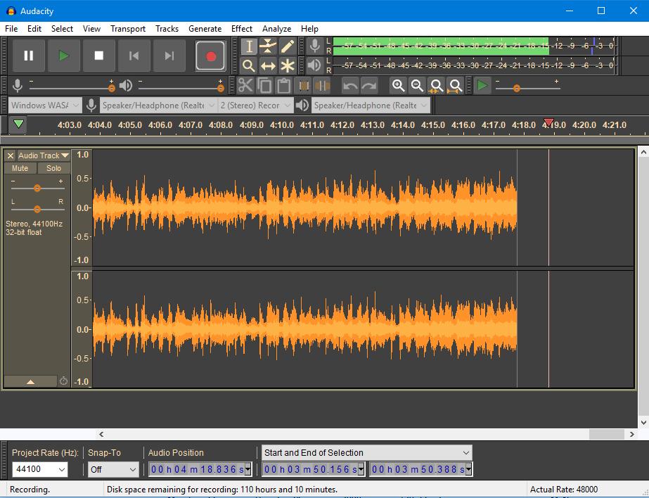 Recording with Audacity 2.2.0 in Dark theme on Windows 10