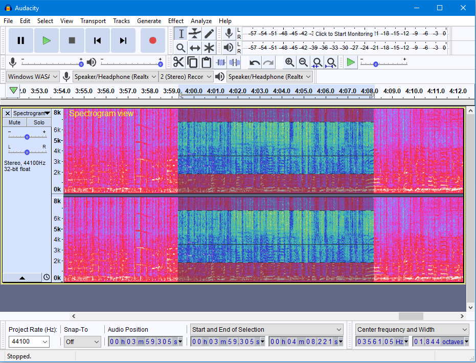 Audacity 2.2.0 in Spectrogram view Windows 10