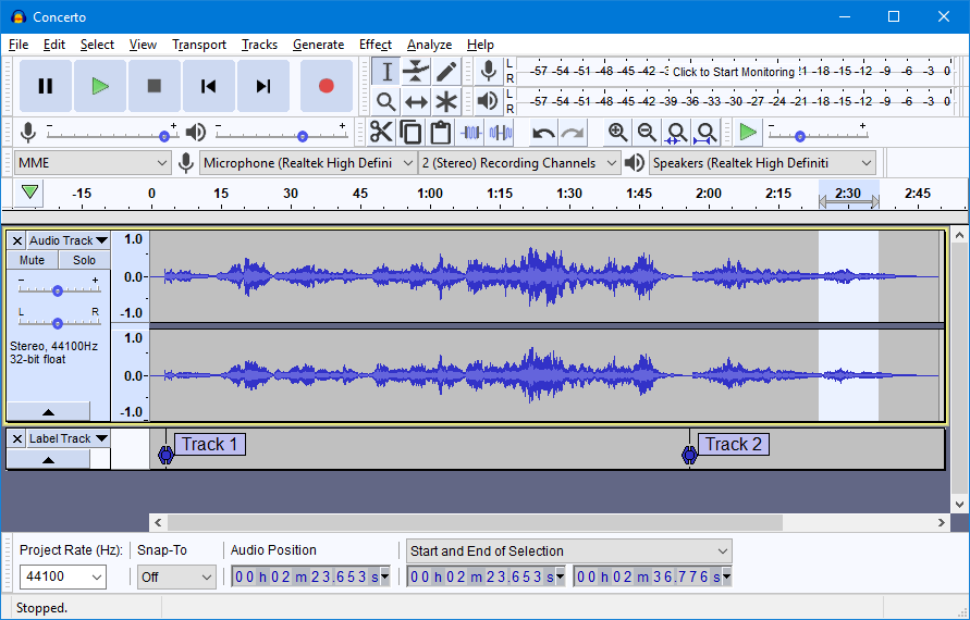 Audacity Light Theme.